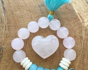 Evil Eye Bracelet | Rose Quartz | Aqua Chalcedony | Bone | Tassel | Stack Bracelet | Bohemian | Gemstone | Beaded