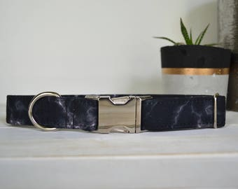 Marble Dog Collar, Black Marble, Lightning, Black Dog Collar, Masculine Dog Collar, Boy, Marble, Silver Metal Buckle