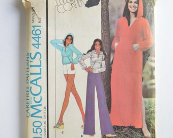 1970s UNCUT Vintage McCall's Sewing Pattern 4461 Womens Keyhole Front Hooded Dress, Hoodie Top, Flared Pants or Short Shorts Size 10