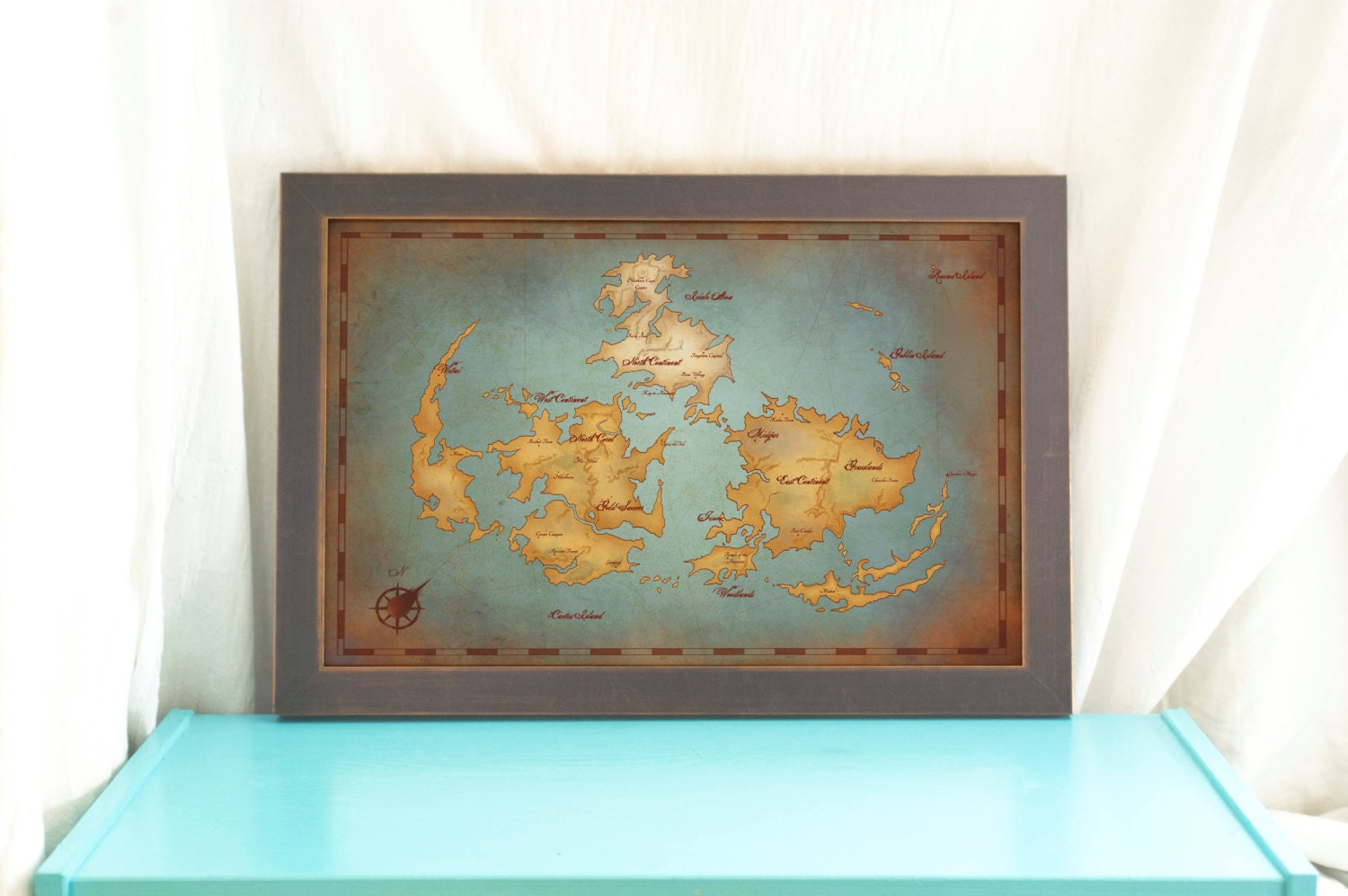 Final fantasy vii world map vintage style art print zoom gumiabroncs Choice Image
