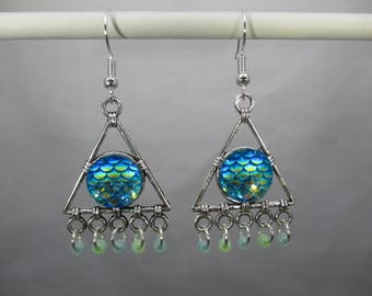 Aqua Mermaid Fish Scale Dangle Earrings in a Triangle Shape with Matching Dangle Beads Double Sided