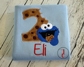 Cookie Monster Birthday Shirt - Cookie Monster Birthday, Cookie Monster Party, Sesame Street Birthday, Boys Birthday Shirt, Girls Birthday