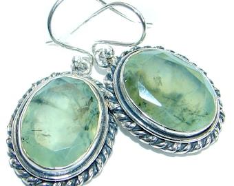 Moss Prehnite, Sterling Silver Earrings - weight 10.40g - dim L- 1 1 2, W - 5 8, T- 1 4 inch - code 26-paz-17-30