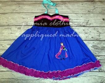 Disney Inspired Appliqued Frozen Princess Anna Embellished Sweetheart Halter Dress sizes 6 months - 16