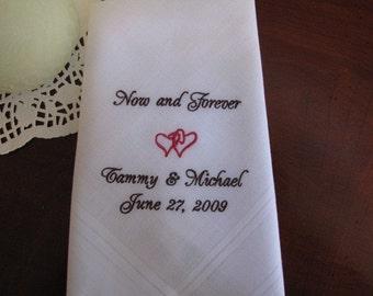 Groom from Bride Wedding Handkerchief Gift,  Personalized bride to groom handkerchief, Embroidered Wedding Handkerchief, Mens Handkerchiefs