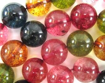"12mm watermelon tourmaline quartz round beads 15"" strand 34447"