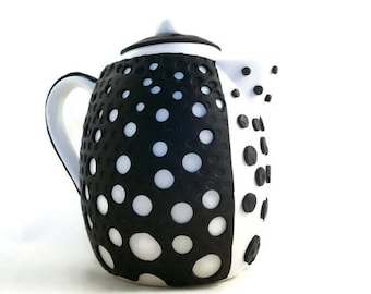 Teapot black and white modern design polymer clay unique teapot