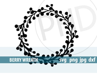 Berry Wreath-svg, png, jpg, dxf files