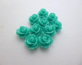 Set of 10 flowers in emerald green resin 10 mm - en-0623