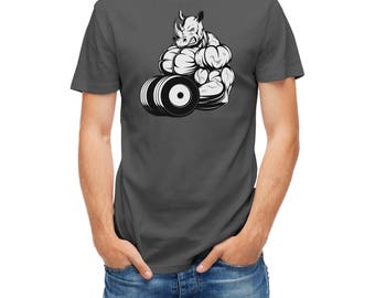 T-shirt Bodybuilder Rhino With Dumbbell Bodybuilding 26029