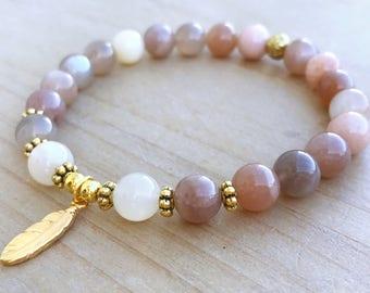 Moonstone Bracelet, Yoga Bracelet, Boho Bracelet, Mala Bracelet, Spiritual Bracelet, Healing Energy Bracelet, Mantra Bracelet, Wrist Mala,