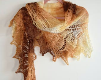 Autumn Colours Hand-Knitted Shawl
