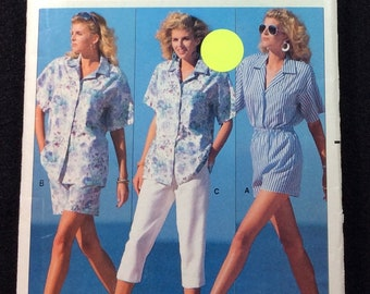 Butterick Very Easy Misses' Shirt, Shorts, And Pants Pattern 6453 Size XS - S - M Fast And Easy Family Circle Collection