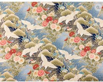 Asian Dreamscape II -  Blue Cranes, Mums, Irises - BTY