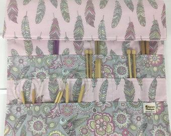 Feather Knitting Needle Organizer. Large Knitting Needle Roll. Gift for Knitters. Knitting Needle Case. Knitting Needle Holder. RTS.