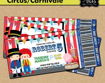 Ticket Circus Party Birthday Invitation-Circus-Circus Party-Carnival Party-Carnival Invitations-Carnival Party Invitations-Clown Invitations
