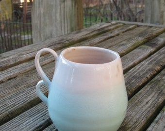 Handmade Ceramic Mug - White and Teal
