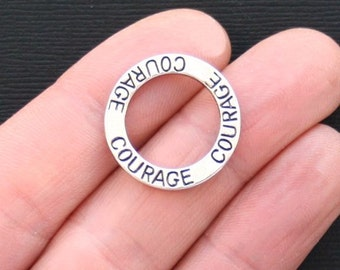 4 Courage Charms Antique  Silver Tone Affirmation Circle Double Sided - SC3217
