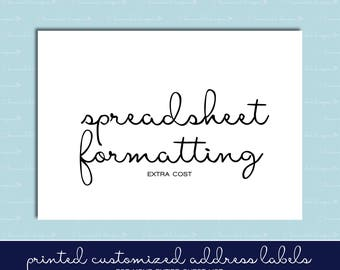 Spreadsheet Formatting for Guest List Address Labels -  - Wedding Invitations - Individual and Different Names and Addresses on Each Label!