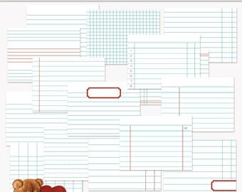 Diario para imprimir tarjetas contabilidad Set 4 azul para Scrapbook y proyecto vida descarga instantánea