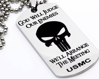 Dog Tag, Military Style Dog Tag, Stainless Steel Dog Tag, Jewelry Dog Tag, Personalized Dog Tag, Military Style Jewelry, USMC Judge