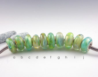 Lampwork Glass bead, Big Hole Bead, BHB, Slider Bead, BHB, Fits Euro Style Charm Bracelet, charm focal bead, Euro Charm Bead, Green Blue