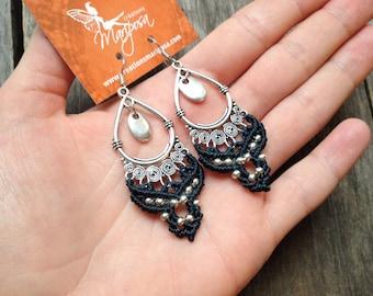 Macrame gypsy earrings boho jewelry bohemian silver or brass by Creations Mariposa