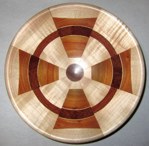 "Turned Wood Segmented Bowl – ""Signal Catcher"" – Segmented Design with Andiroba, Curly Maple and Black Walnut 43-17"