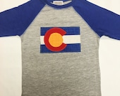 Boys Colorado Flag Baseball Tee- Blue Boys Baseball Tee