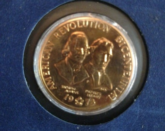 American Revolution Bicentinnial Coin//Collectible coin//Revolution coin//1974 Gold bronze coin