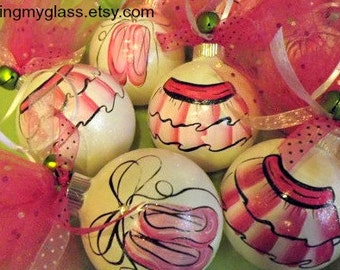 Hand painted tutu/ballet glass ornament