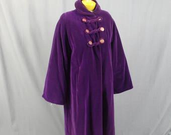 1920s Purple Velvet Flapper Coat, Art Deco Wrap Jacket, Swing Coat, Purple Opera Coat