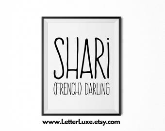 Shari Name Meaning Art - Printable Baby Shower Gift - Nursery Printable - Definition Digital Print - Nursery Decor - Typography Wall Decor