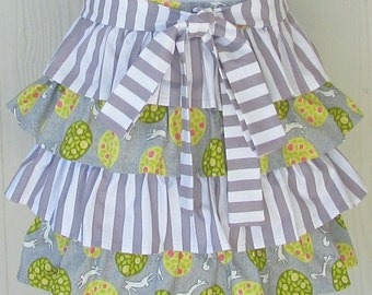 Cute Half Apron, Ruffled Apron, Foxes and Rabbits, Topiary, Waist Apron, Gray Stripes, KitschNStyle