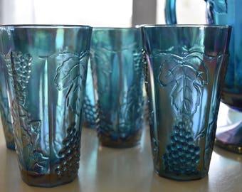 Vintage Iridescent Blue Carnival Harvest Water Tumblers