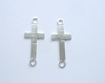 2 pcs sterling silver sideway cross connector, link(24x10mm)
