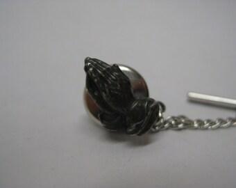 Pray Hands Sterling Tie Tack Vintage Pin