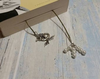 Book thong, bookmark on waxed cotton cord with silver-toned metal mermaid charm and handmade white glass pearl and silver metal dangle