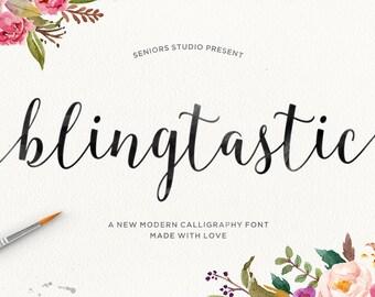 Blingtastic Script, Modern Calligraphy Font, Script Font, Handwritten Font, Cursive Font, Fancy font, Digital Font Download