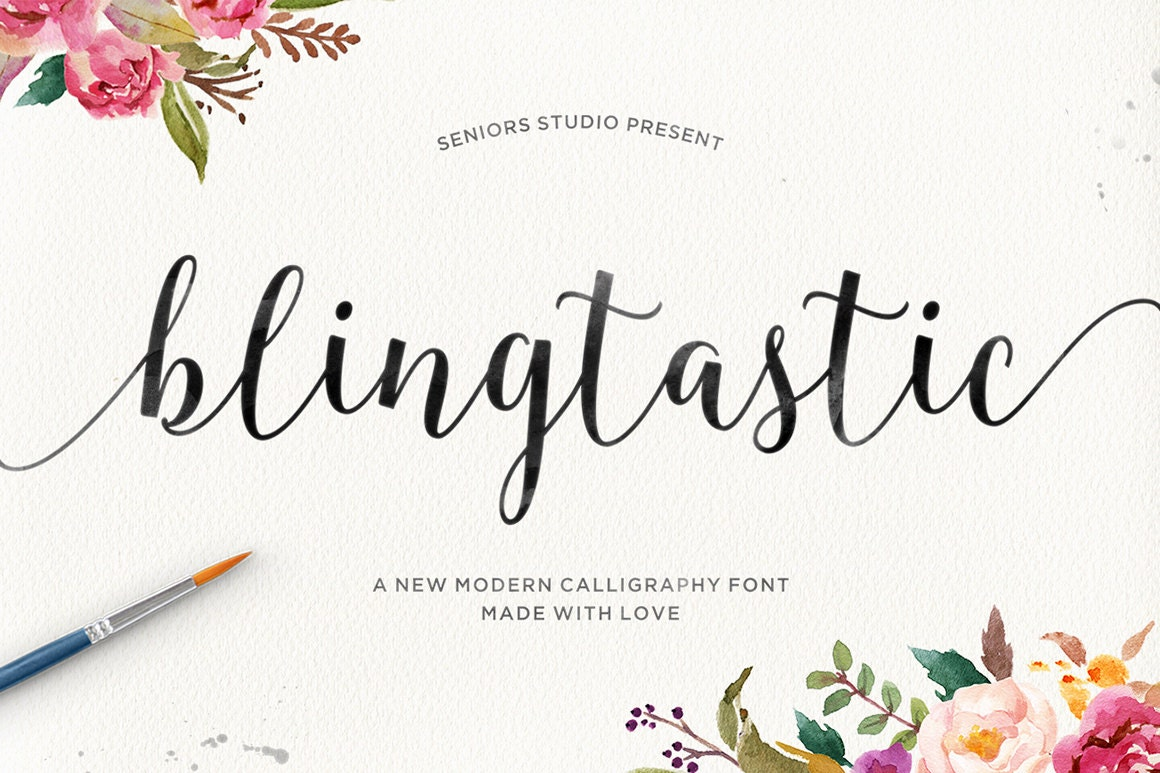Blingtastic script modern calligraphy font