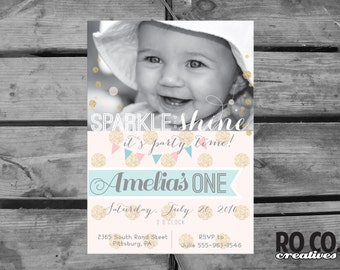Sparkle and Shine - Pink, Gold and Mint Polka Dot Printable DIY 1st Birthday Photo Party Invitation