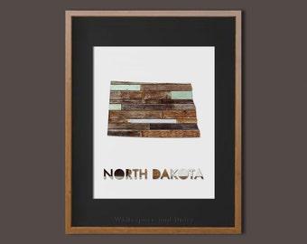 North Dakota State Printable Art North Dakota Art Printable North Dakota Map Printable Faux Wood Wall Printable Wall Art Housewarming Gift
