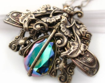 Charme De Libellule dragonfly necklace,  Art Nouveau statement necklace, dragonfly jewelry, antique brass pendant necklace, fantasy jewelry