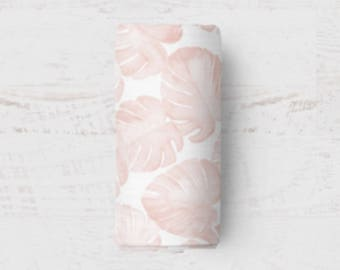Monstera Swaddle, Baby Blanket, Watercolour Muslin Swaddle, Wrap Blanket, Baby Swaddle, Swaddle Blanket, Modern Baby Gift, Baby Girl Present