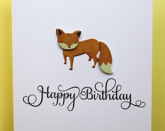 Fox 'Happy birthday' handmade cards~~~SET OF 5