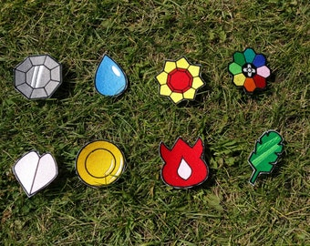 Whole Set of 8 Iron-On Pokemon Badges, Kanto, Indigo League, Pokemon, Boulder, Cascade, Thunder, Rainbow, Soul, Marsh, Volcano, Earth, Patch
