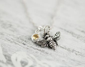 Sterling Silver Tiny Bee Necklace, Gift for Beekeeper, Little Bumble Bee Charm Necklace, Honey Bee Pendant, Insect Jewelry,Layering Necklace