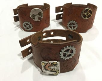Handmade Leather Steampunk Wrist Cuff with watch and gear concho