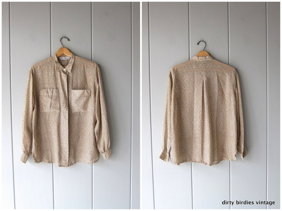 Tortoise & Cream Silk Blouse | 80s Sheer Button Up | Modern Pocket Shirt Minimal Silk Oxford Long Sleeve Silk Shirt Women Medium Large