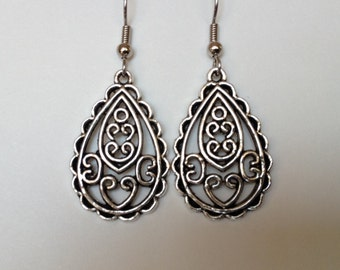 Surgical steel silver filigree drop earrings with heart